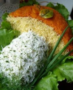 Оформление новогодних салатов