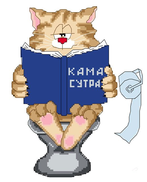 Вышивка коты на унитазе