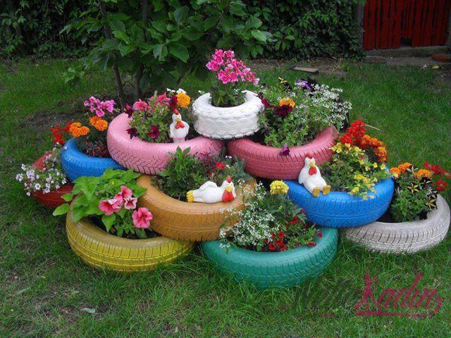 Цветочные горшки из покрышек