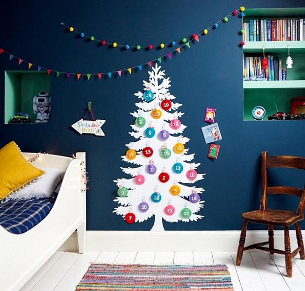Оригинальное оформление комнаты на Новый год
