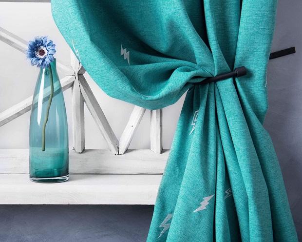 Бирюзовый цвет штор